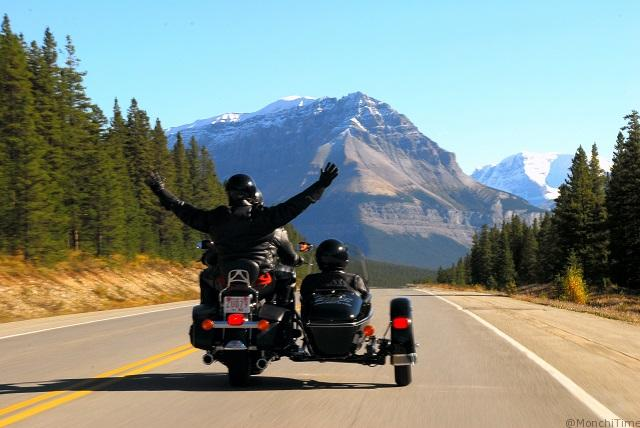 Motorcycle touring in Jasper National Park, Alberta, Canada.