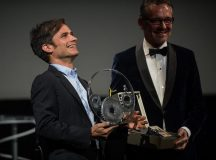Gael Garcia Bernal receives the Jaeger-LeCoultre Latin Cinema Award from Laurent Vinay, international communications director of Jaeger-LeCoultre, at Victoria Eugenia Theatre during 64th San Sebastian Film Festival on September 17, 2016 in San Sebastian, Spain...