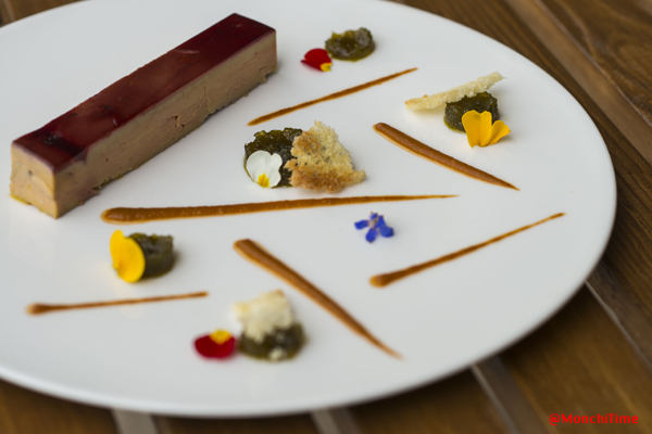 Foie gras terrine with hibiscus jelly, jalapeño and tometoes marmalade