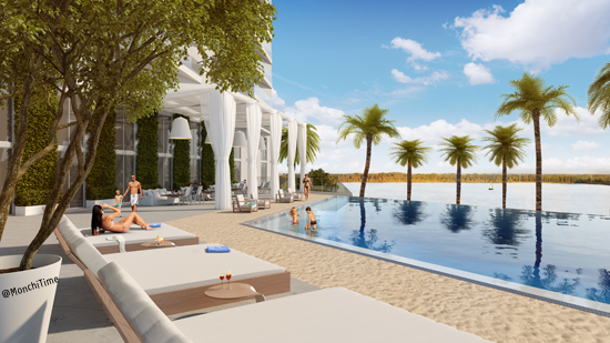 2 ph Premiere Sandy Beach Pool Deck Rendering Daytime