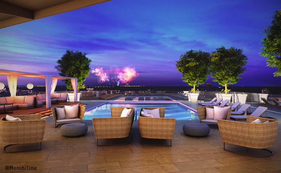 3 ph Premiere Rooftop Pool Rendering Nightime