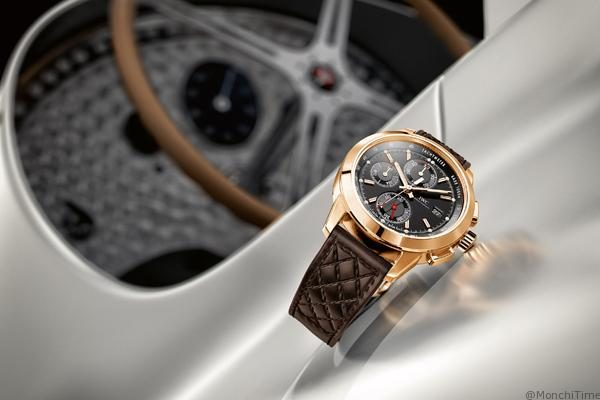 """HANDOUT – The Ingenieur Chronograph Edition """"74th Members' Meeting at Goodwood"""" (Ref. IW380703) from IWC Schaffhausen features a case in solid red gold measuring 42 millimetres in diameter and a black dial, with two totalizers, small seconds and tachymeter scale running round the outer edge, clearly taking its cue from the dashboard of a gutsy sports car. The beautifully worked brown calfskin strap likewise recalls the luxurious interior of classic motor cars. The timepiece comes in an exclusive limitation of 74 pieces. (PHOTOPRESS/IWC)"""